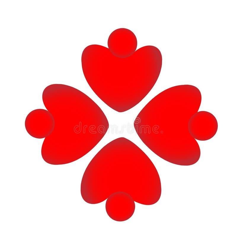 La gente rossa del cuore di lavoro di squadra modella il logo di vettore di formazione royalty illustrazione gratis