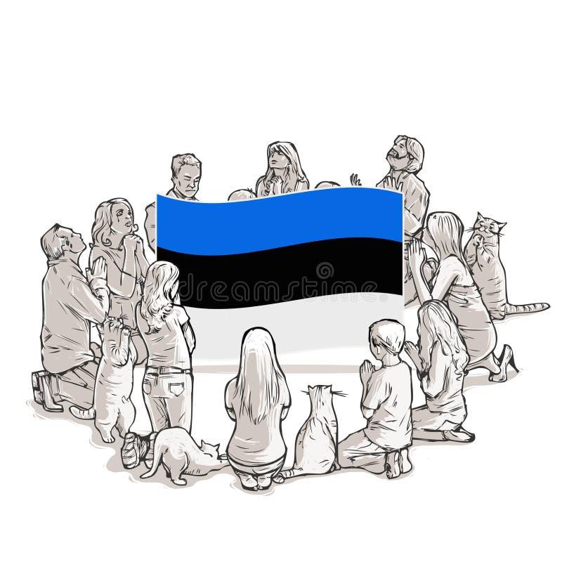 La gente ruega para Estonia ilustración del vector
