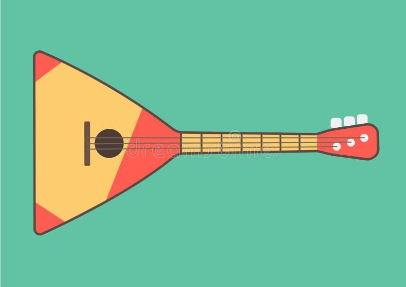La gente rusa del encanto del ethnics de la balalaica desplumó el instrumento musical en el estilo de gráficos planos en un backg ilustración del vector