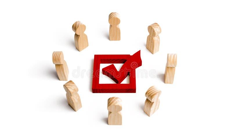 La gente se coloca en un círculo y una mirada en la marca de verificación roja en la caja elección, encuesta o referéndum Gente d ilustración del vector