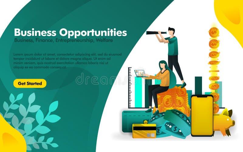 La gente se está colocando en pilas de dinero y está viendo oportunidades de negocio con binocular puede utilizar para, página el libre illustration