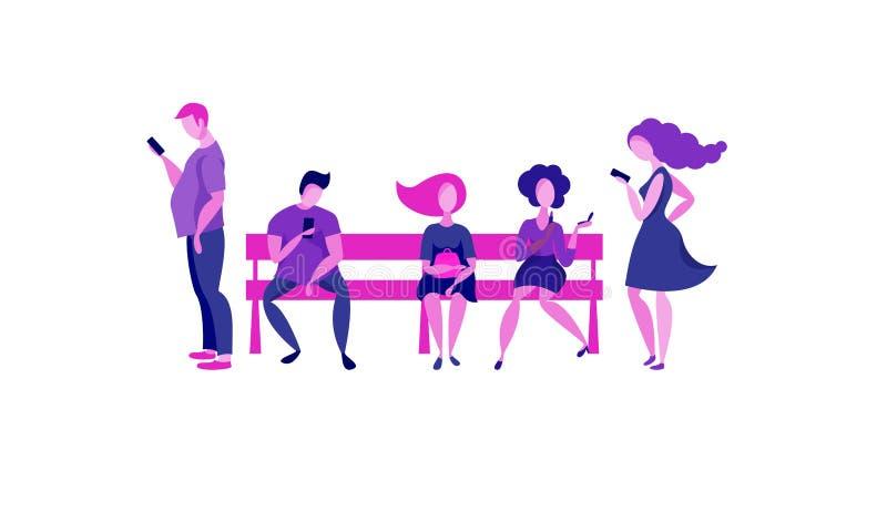 La gente se está sentando en un banco libre illustration