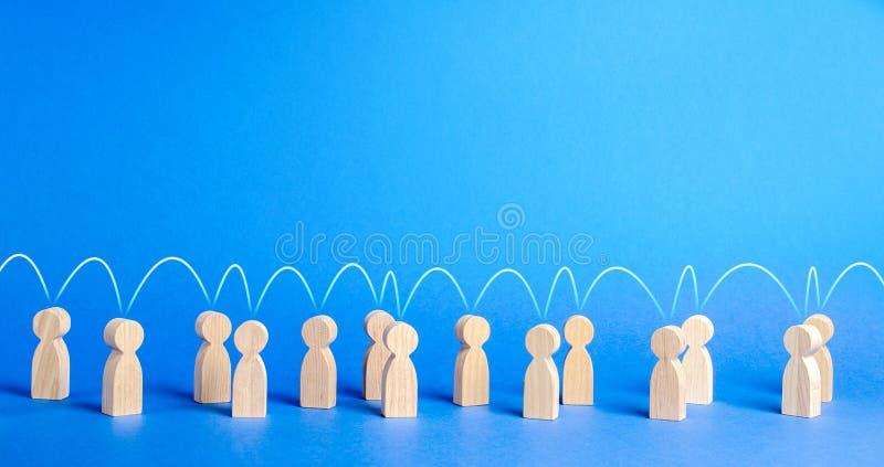 La gente se unió con una línea mental. Conexiones sociales, comunicación. Llamado a la cooperación, crear un nuevo equipo fotos de archivo