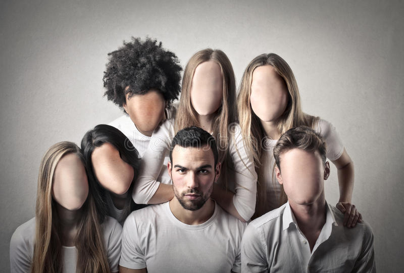 La gente senza fronti fotografia stock
