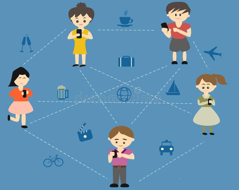 La gente si collega con il cellulare royalty illustrazione gratis