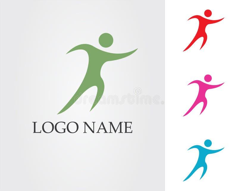 La gente si preoccupa le icone del modello di logo di vita di salute di successo royalty illustrazione gratis