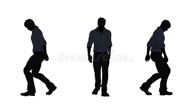 La gente siluetea al hombre camina deprimido libre illustration