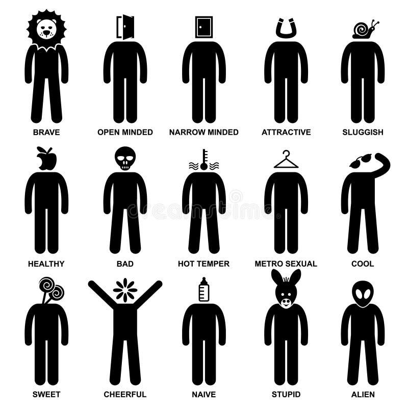 La gente sirve el pictograma característico de la actitud ilustración del vector