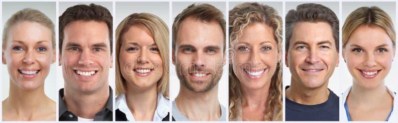 La gente sorridente affronta l'insieme fotografie stock libere da diritti