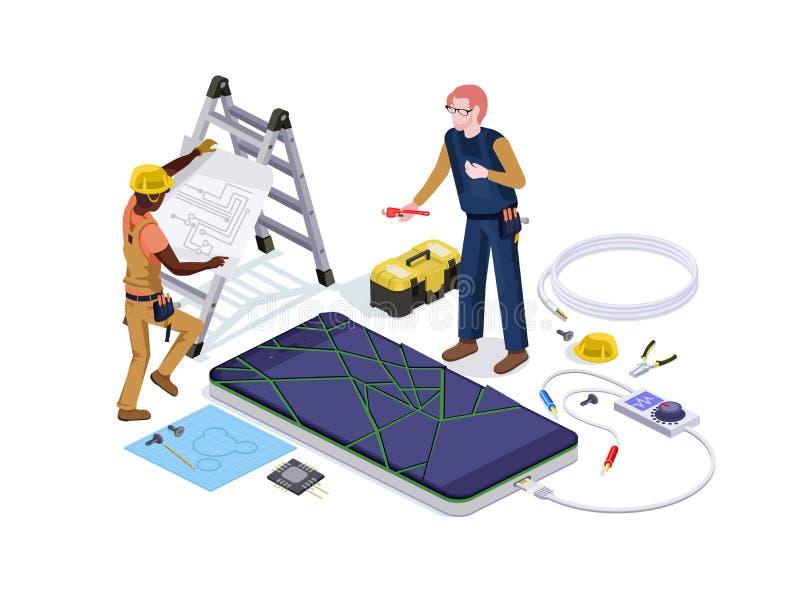 La gente sotto forma di lavoratori di servizio di riparazione del telefono cellulare fare i sistemi diagnostici dello schermo e l illustrazione vettoriale