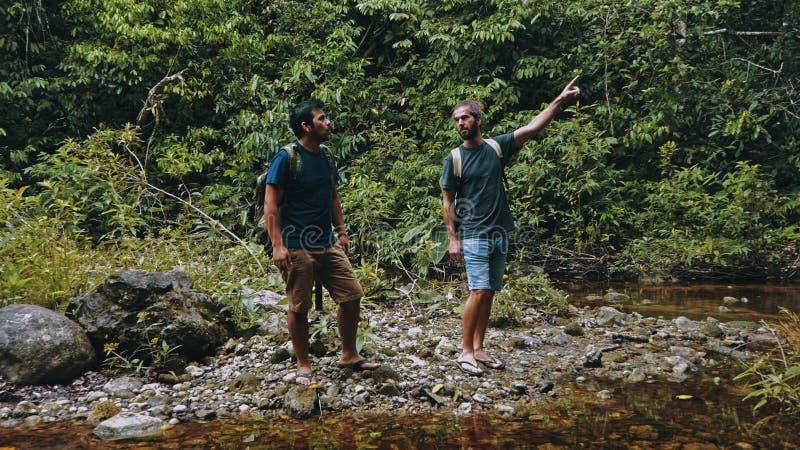 la gente sta esaminando il baldacchino della giungla durante il breve aumento attraverso i fiumi ed i piccoli stagni immagini stock libere da diritti