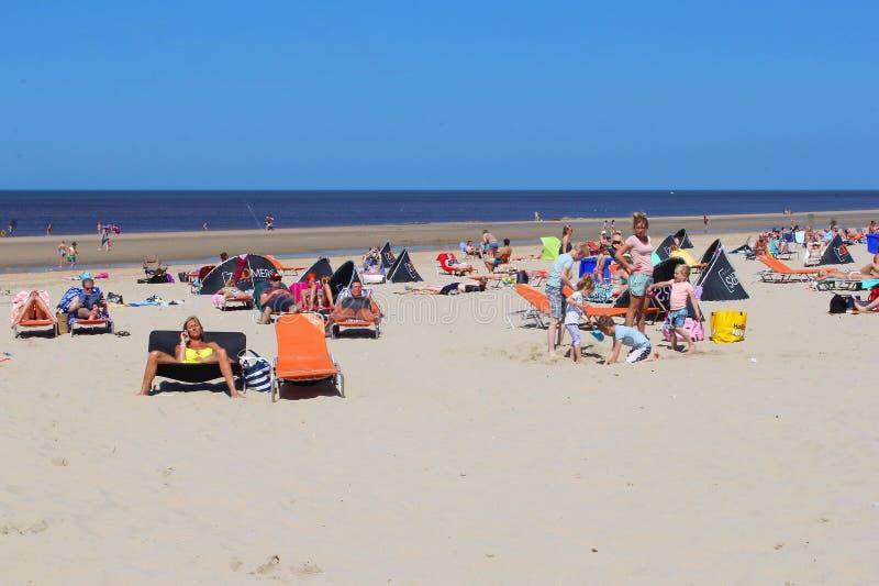 La gente sta prendendo il sole alla spiaggia, Paesi Bassi immagini stock libere da diritti