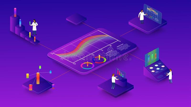 La gente studia i processi dinamici nei grafici e nei diagrammi infographics isometrico 3d specialmente 10 illustrazione di stock