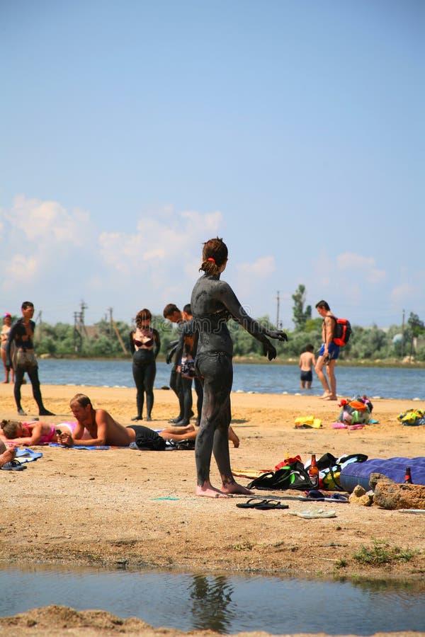 La gente sul lago di sale fotografia stock