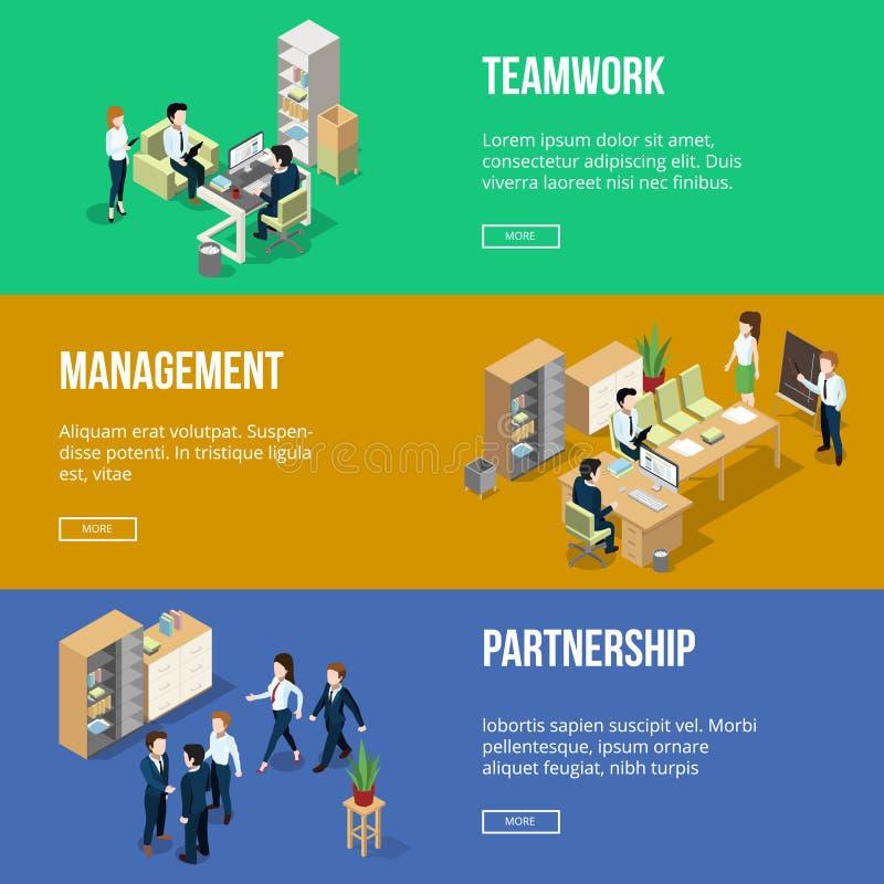 La gente sul lavoro nei suoi uffici Posto di lavoro dell'uomo d'affari Insegne orizzontali messe con le illustrazioni isometriche illustrazione vettoriale