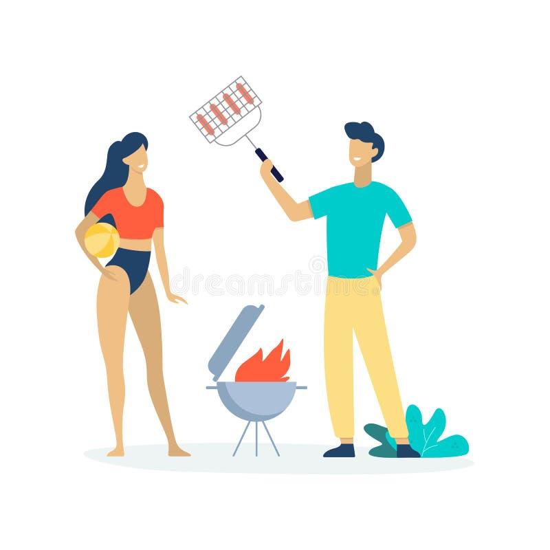 La gente sul partito del BBQ di estate Uomo che cucina salsiccia illustrazione vettoriale