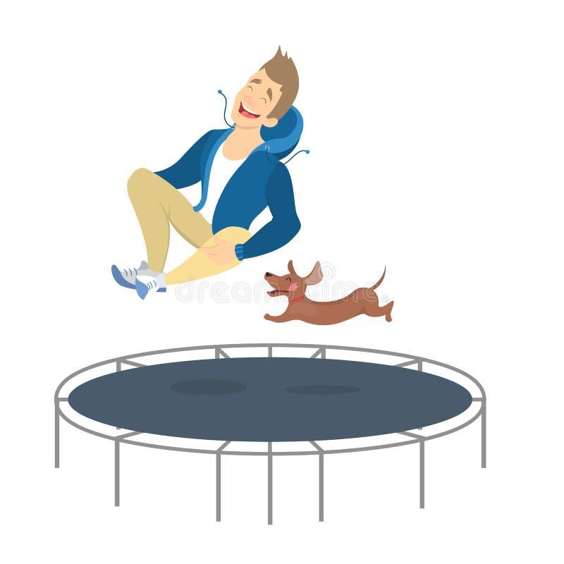La gente sul trampolino illustrazione vettoriale