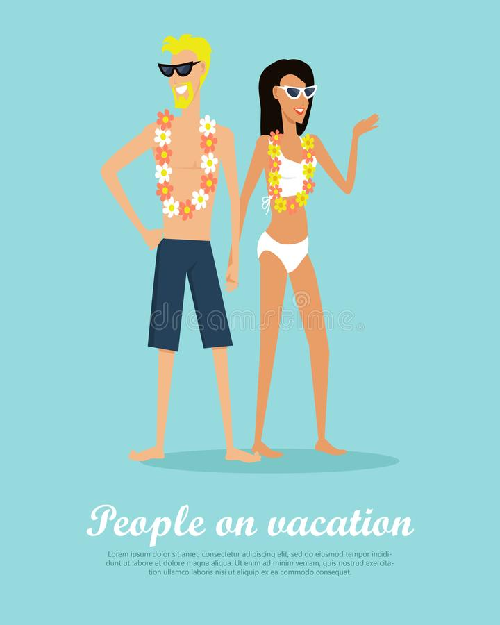 La gente sull'insegna piana concettuale di vettore di vacanza illustrazione vettoriale