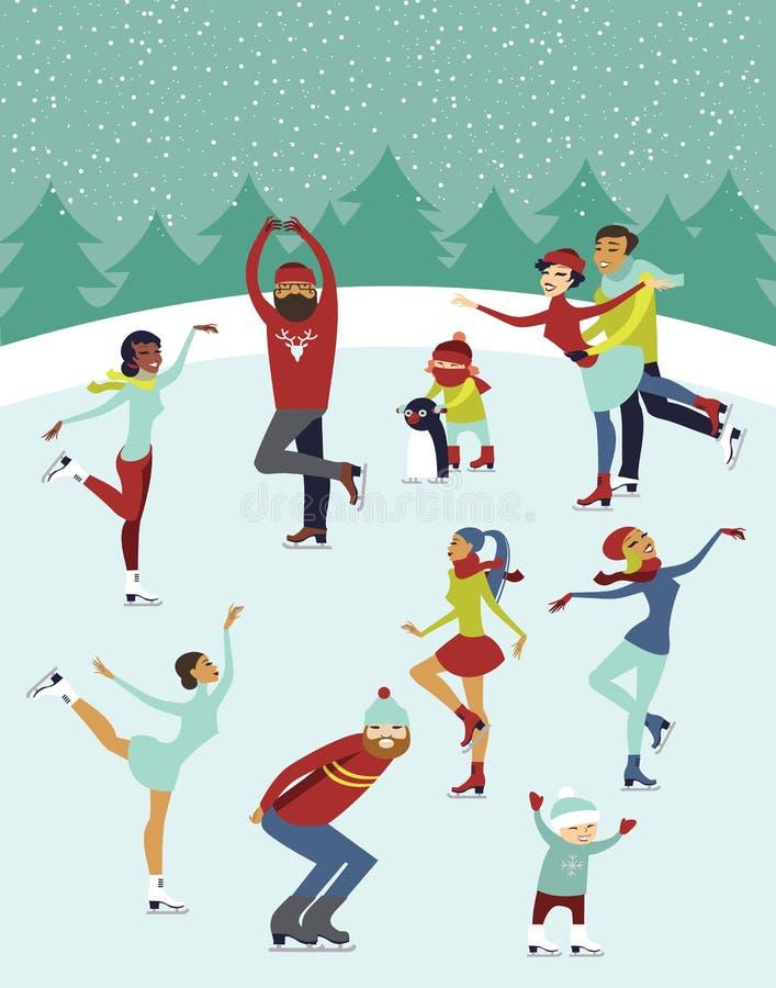 La gente sulla pista di pattinaggio sul ghiaccio illustrazione vettoriale