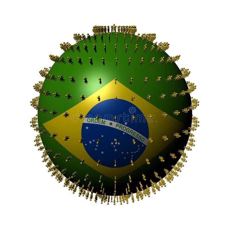 La gente sulla sfera della bandierina del Brasile illustrazione vettoriale
