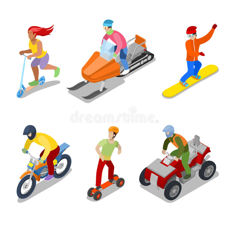 La gente sullo snowboard, su ATV e sul motociclo Sport estremi illustrazione di stock