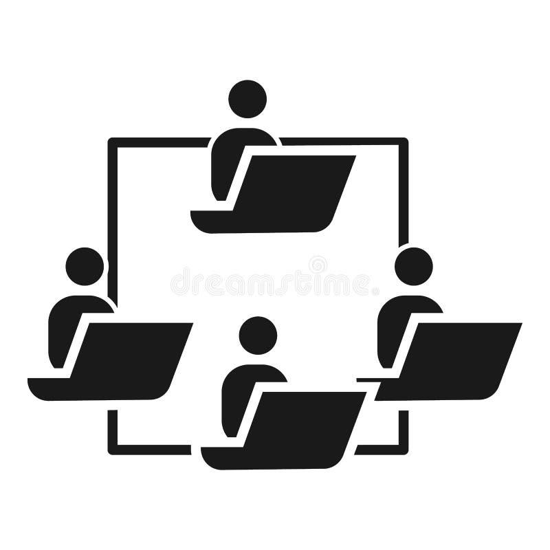 La gente trabaja el icono de la cohesión, estilo simple stock de ilustración