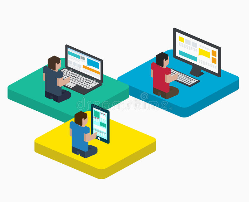 La gente trabaja en los dispositivos digitales en web, diseño en estilo isométrico plano ilustración del vector