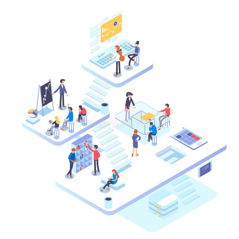 La gente trabaja en un equipo y alcanza la meta Concepto de lanzamiento Lance un nuevo producto en un mercado Ejemplo isométrico ilustración del vector