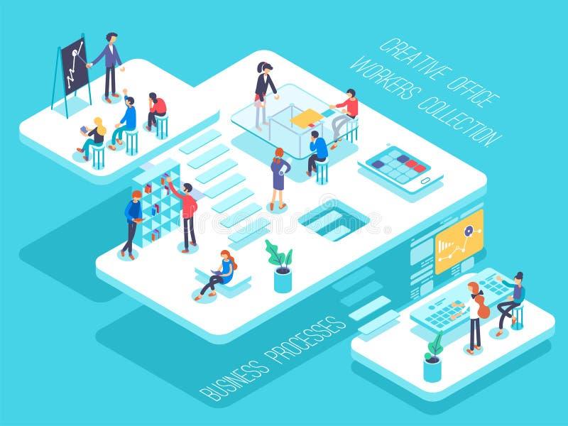 La gente trabaja en un equipo y alcanza la meta Concepto de lanzamiento Lance un nuevo producto en un mercado Ejemplo isométrico libre illustration