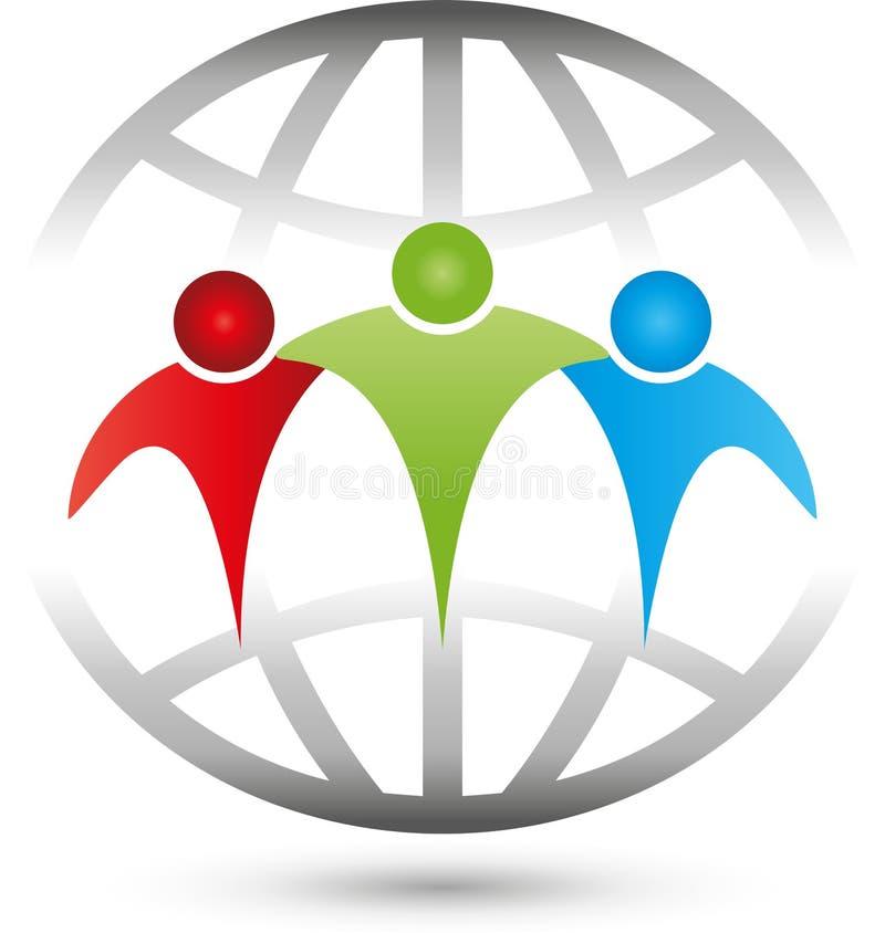 La gente, tre persone e globi, associazione e Team Logo illustrazione di stock
