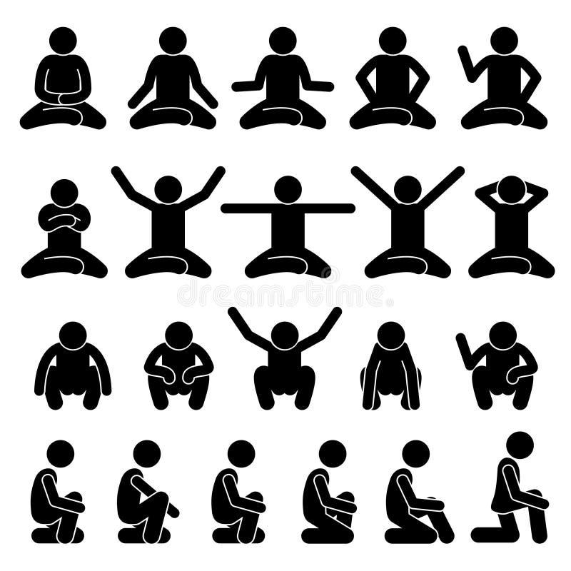 La gente umana dell'uomo che si siede e che occupa sul pavimento posa la figura icone del bastone di posizioni del pittogramma di illustrazione di stock