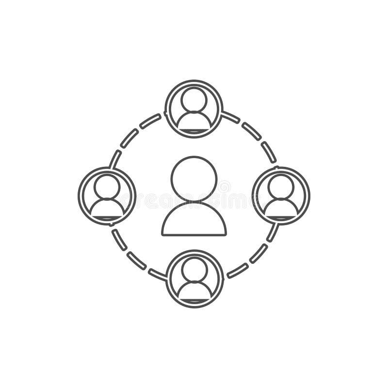 la gente in un'icona del cerchio Elemento del web per il concetto e l'icona mobili dei apps di web Linea sottile icona per proget illustrazione di stock