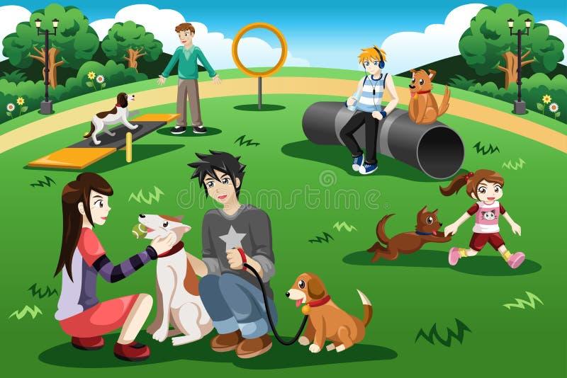 La gente in un parco del cane illustrazione di stock