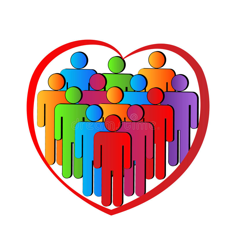 La gente in una forma del cuore illustrazione vettoriale