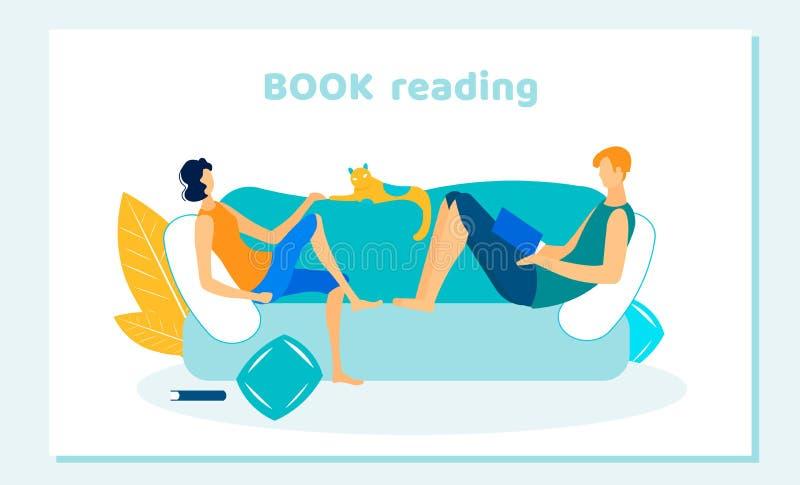 La gente y el animal doméstico pasan tiempo libre Libros de lectura caseros ilustración del vector