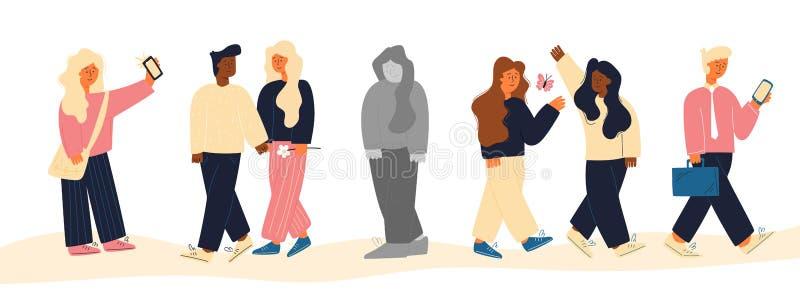 La gente y la mujer del grupo de la imagen se coloca solamente planas ilustración del vector