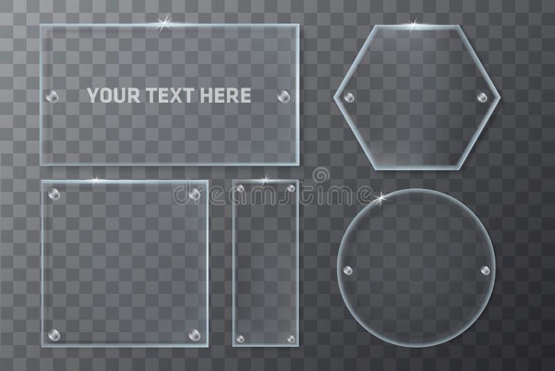 La geometría de cristal transparente realista enmarca la plantilla ilustración del vector