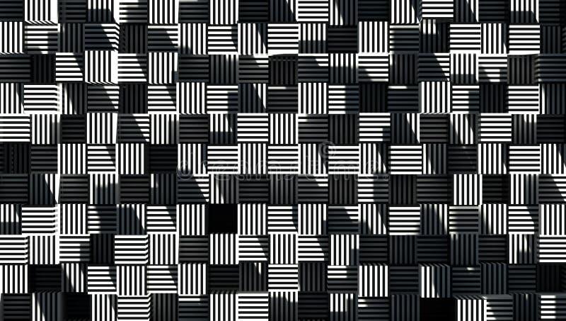 La geometría del extracto rayó el papel pintado 3d del cubo rinde stock de ilustración