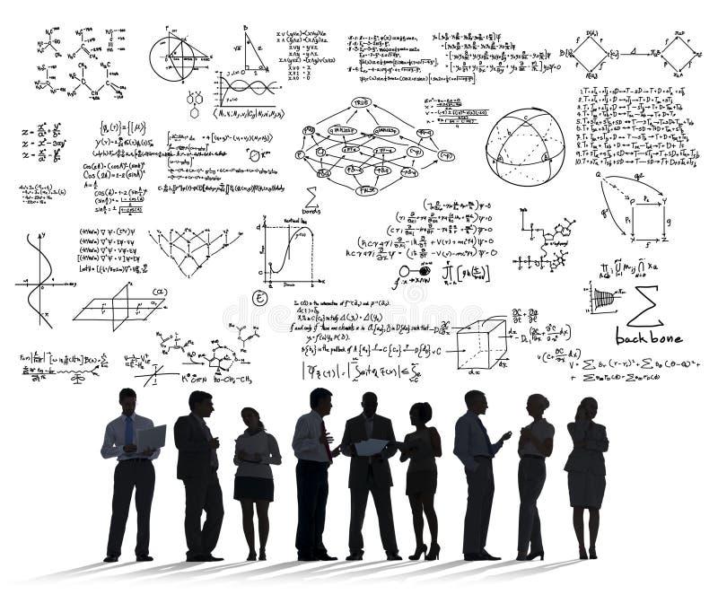 La geometría del símbolo matemático de la ecuación de las matemáticas de la fórmula informa foto de archivo