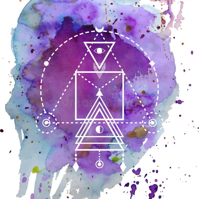 La geometría sagrada forma, forma de las líneas, logotipo, muestra, símbolo stock de ilustración