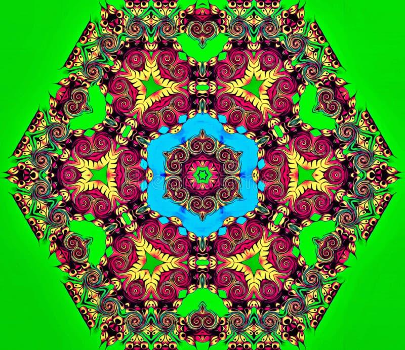 La geometria astratta di arte moderna Mandala orientale mistica progettazione tradizionale del caleidoscopio floreale Backgro sim illustrazione vettoriale