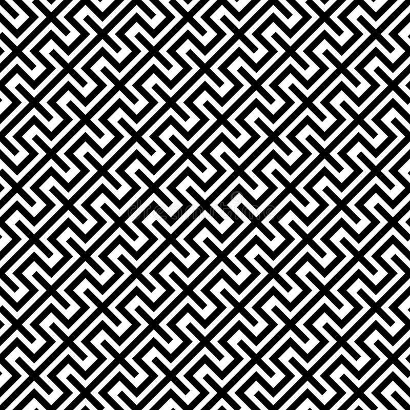 La geometria astratta moderna di vettore allinea il modello fondo geometrico senza cuciture in bianco e nero royalty illustrazione gratis