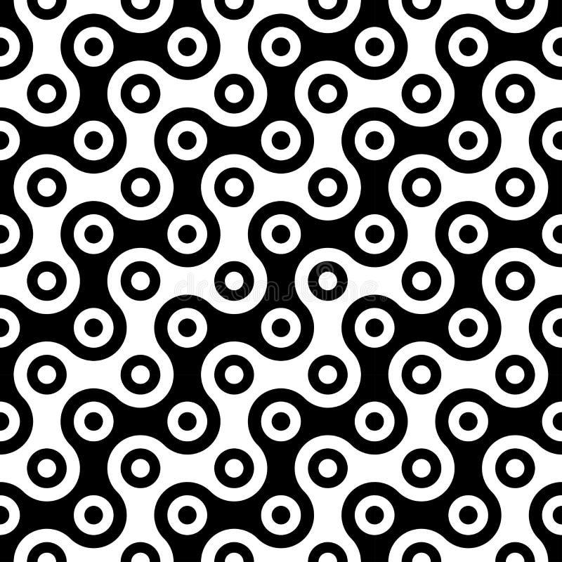 La geometria astratta moderna di vettore circonda il modello fondo geometrico senza cuciture in bianco e nero illustrazione di stock