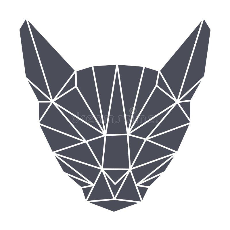La geometria di Lowpolygonal, testa grigia del gatto semplice fotografia stock