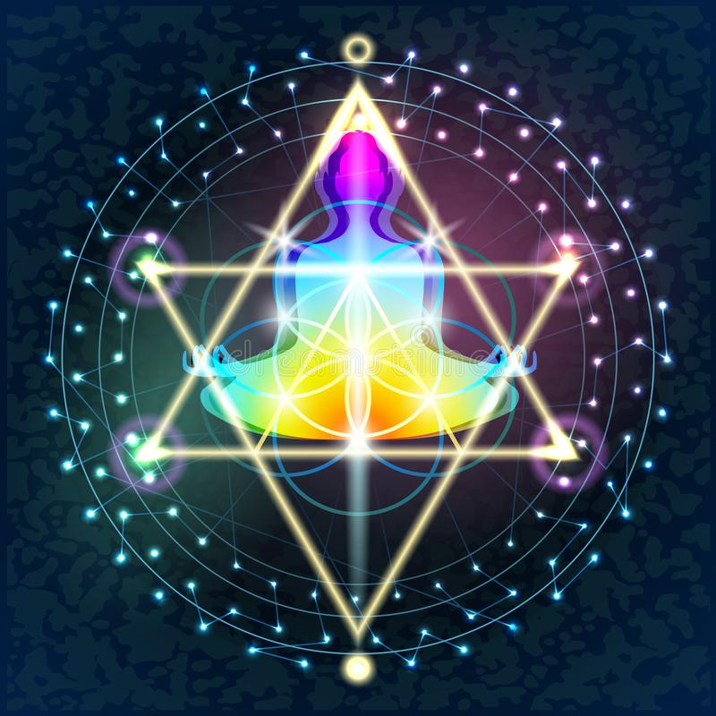 La geometria sacra Buddha illustrazione vettoriale