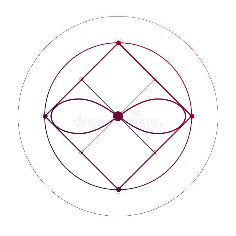 La geometria sacra che collega schizzo minimo del tatuaggio di forme geometriche su bianco illustrazione vettoriale