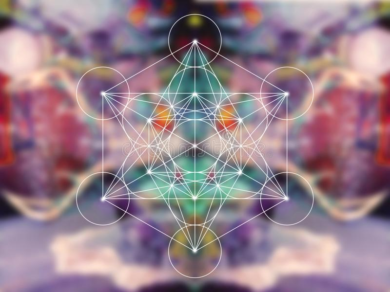La geometria sacra del cubo di Metatron fotografia stock