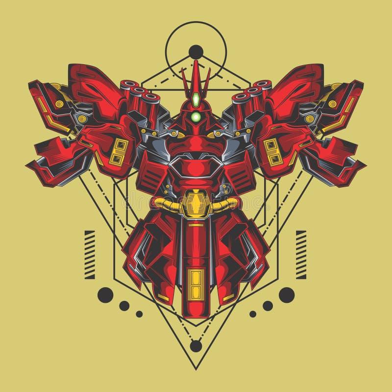 La geometria sacra del grande combattente del gundam illustrazione vettoriale
