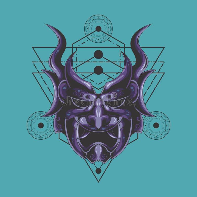 La geometria sacra della maschera porpora del demone illustrazione di stock
