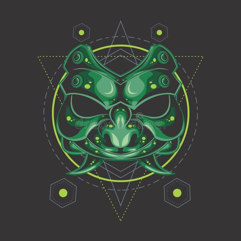 La geometria sacra della maschera verde del samurai royalty illustrazione gratis